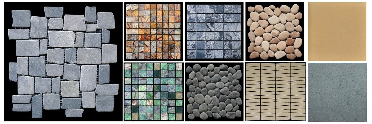 <strong>Island Stone tiles</strong><br>A collection of the available tiles from Island Stone